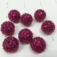 Wholesale 20MM Rose Color Fashion Round Acrylic Resin Rhinestone Beads for Kids Necklace Supplier