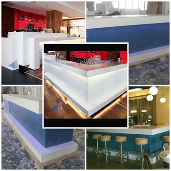 Top Quality Acrylic Bar Counter Artificial Marble Stone Modern Design White Expandable  Bar Table