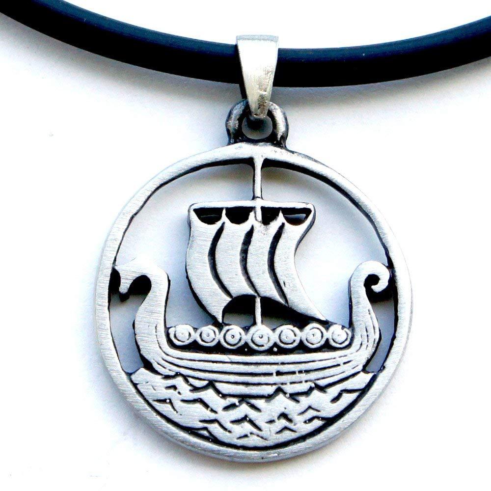 Longship Oseberg Faering Karve Knarr Dragon Ship Norse Viking Pewter Pendant W PVC Necklace