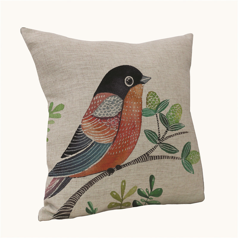 45*45cm Decorative Almohada Cusion Covers For Sofa Bird Throw Pillow Cover Seat Yastik Chair Cojin Housse Coussin Decoration