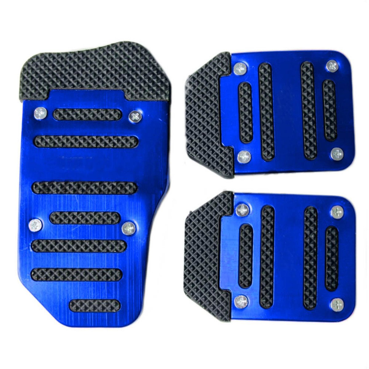 Fochutech 3 Pcs Nonslip Pedal Foot Brake Accelerator Cover Set for Car Auto Vehicle Automatic Aluminium (Blue)