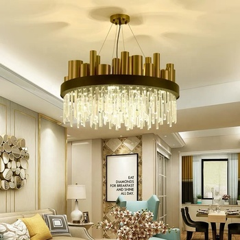 Contemporary led dining room lighting with crystal drop chandelier lights for living room china factory light
