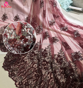 Middle East wine red bead sequins lace fabric/ beaded embroidery lace factory