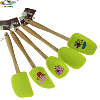 DE063 Silicone Spatula Spoon Unique wooden handle Design kitchen Baking Scraper High quality reusable safe