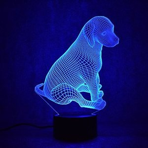 3D Guard Dog lamp Night Light Touch Table Desk Optical Illusion Lamps 7 Color Changing Lights