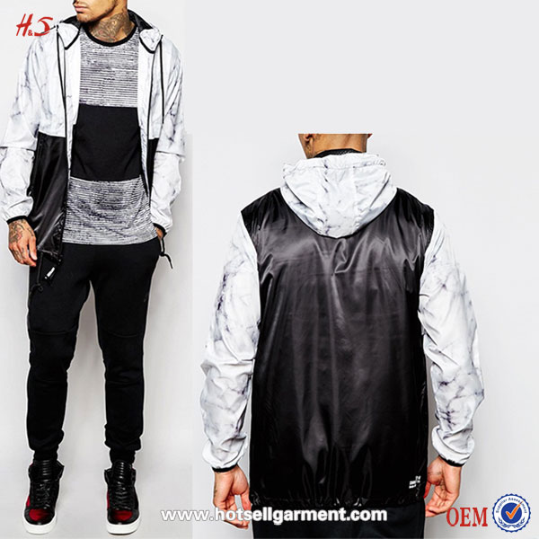 Wholesale Mens Casual Apparel New Fashion Criminal Damage Windbreaker Jacket In Marble Print