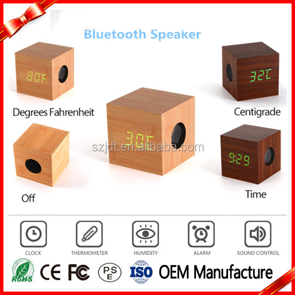 New Design Wooden Mini Bluetooth Cube Speakers With Clock Wireless