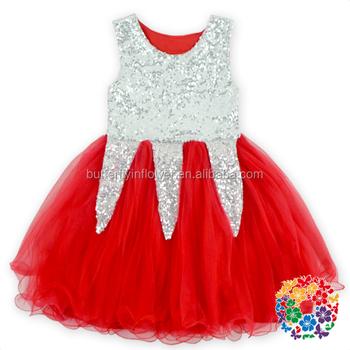 cc8204d91 Sliver Glitter Tule Vermelho Top De Malha de algodão Vestido de crianças  vestidos da menina do