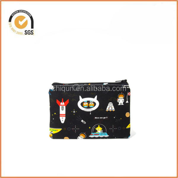 Space Explorers Zippered Pouch / Zipper Bag with Intergalactic Space Adventure on Black By Chiqun Dongguan CQ-H03011