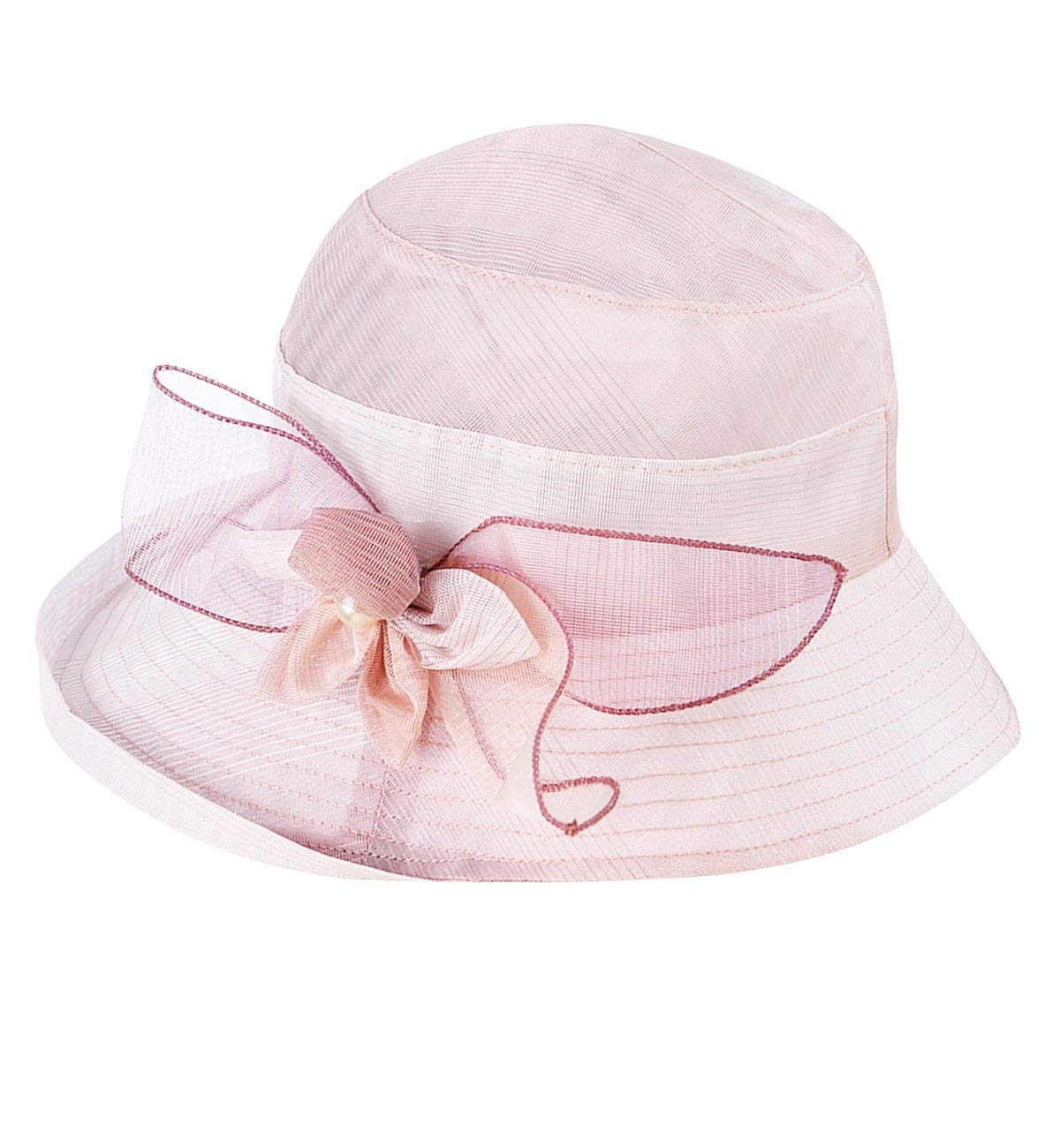 Color : Purple ZUOANCHEN Wedding Veil Sun Hat Women Oganza Summer Sun Hat Beach Church Hat Ascot Race Derby Hat Cocktail Wedding