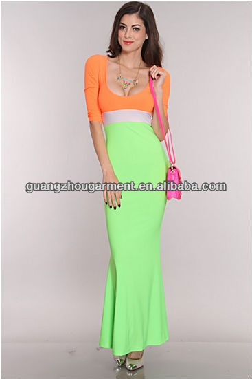 OEM new Neon Orange Lime Color Block chevron maxi dress