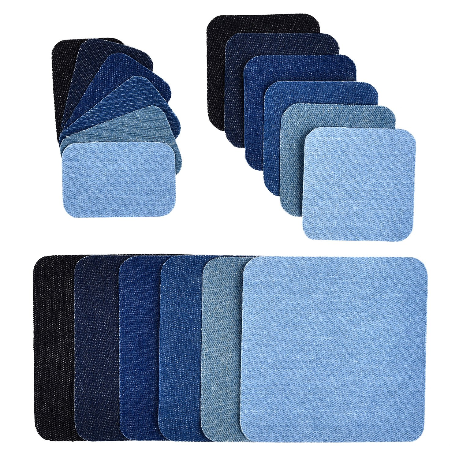 eBoot 18 Pieces 6 Colors Iron on Patches Denim Cotton Patches Iron-on Repair Kit, 3 Size (5 x 5 Inch, 3 x 3 Inch, 2 x 3 Inch)