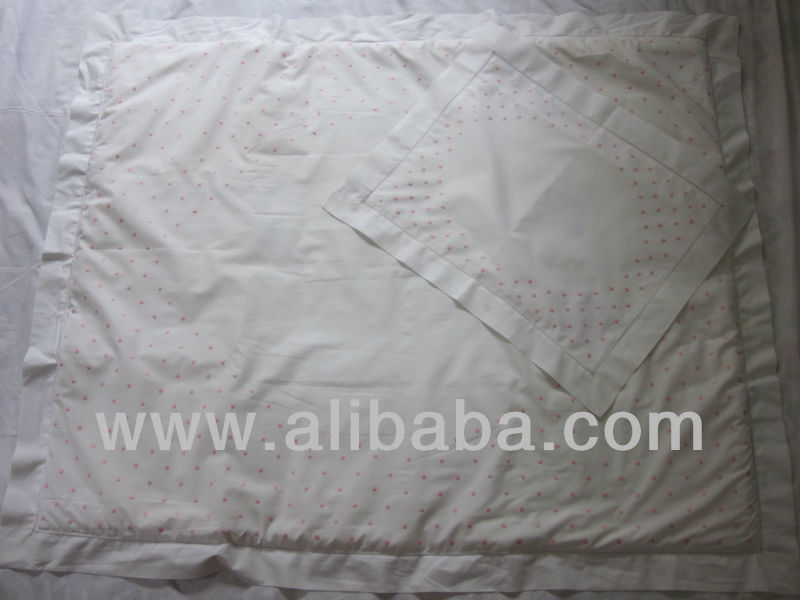 100% cotton small pink dots embroidery pattern embedded blanket for babies