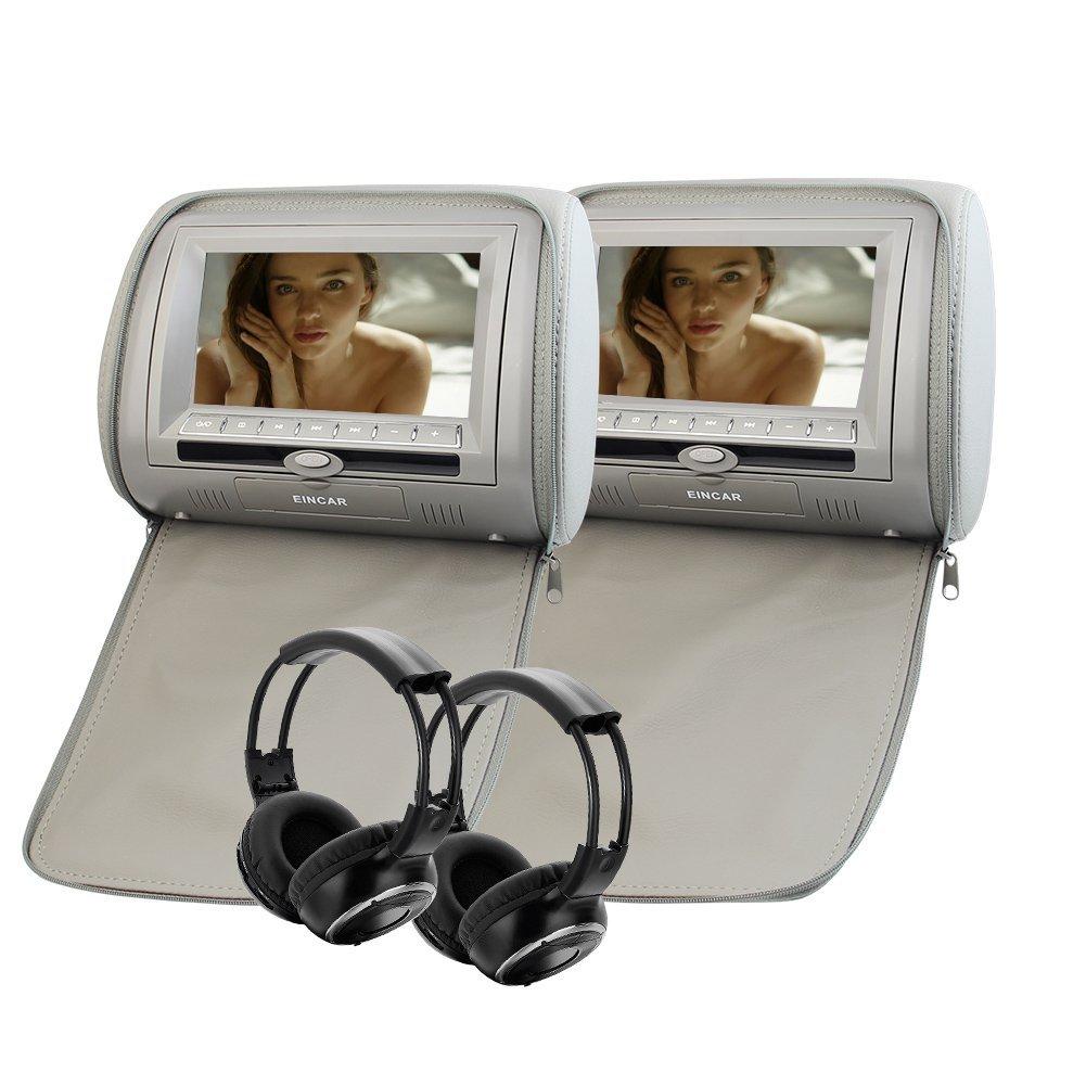 """Pair of Wireless Infrared Headphones + Eincar 7"""" LCD Gray Car Pillow Monitor Pair of Headrest DVD player Dual Twin Screens Built-in IR FM Transmitter 32 Bit Games, Zipper Cover Car Headrest"""