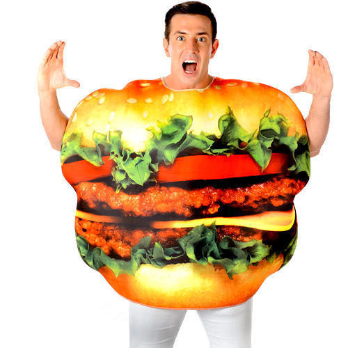Burger Adulti del Vestito Operato Divertimento Cibo Cheeseburger Hamburger Signore del Mens Costume BP3687
