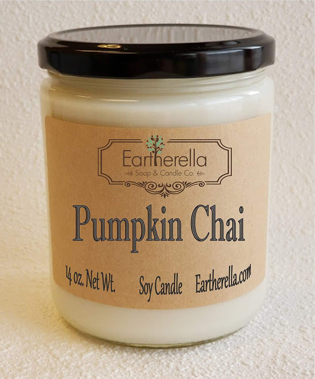 PUMPKIN CHAI Natural Soy Wax 14 oz. Jar Candle, 90+ hours, vanilla, cinnamon, clove, nutmeg, pie