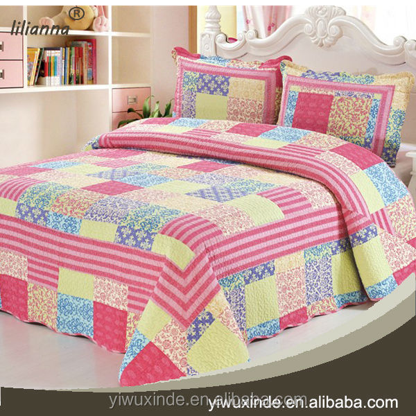 Ethnic Indian Cotton Patchwork Bedspread Hand Embroidery Bed Cover ...