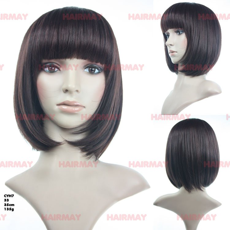 skin top lace,bob with neat bang in black hair wig,good for white women