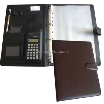 customized 3 ring binder leather resume portfolio with pvc sleeve