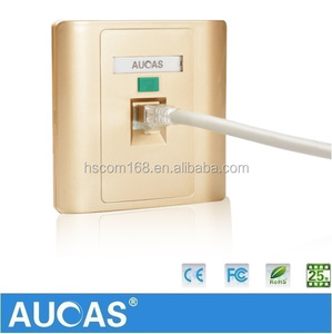 Aucas Wall Mount Plate RJ45 Data Cabling Keystone Jack Faceplates Cat5e Cat6 Face Plate Golden Color