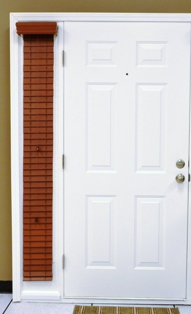 "Custom-Made Sidelights, Horizontal Window Blinds for Doors, Faux Wood, 2"" Slats, Single Blind, Cherry, Outside Mount, 9.5"" Wide x 48"" Long"