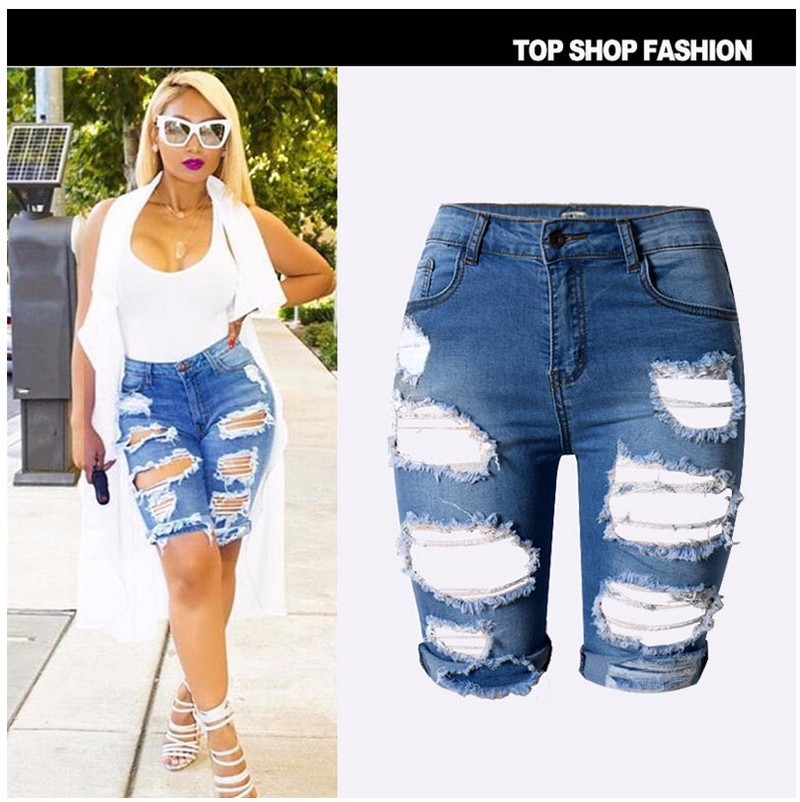 4d21a390212 Knee Length Ripped Jeans For Women Holes Plus Size Denim Shorts With ...
