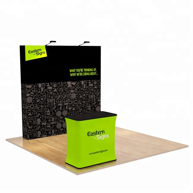 Free Standing Fiera Tessuto di Tensionamento 8' Magnetic Pop Up Display Negozio Rack