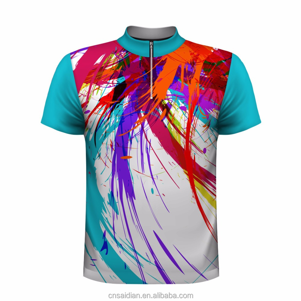 High Quality Sublimated Bowling Shirtscustom Mens Bowling Jersey