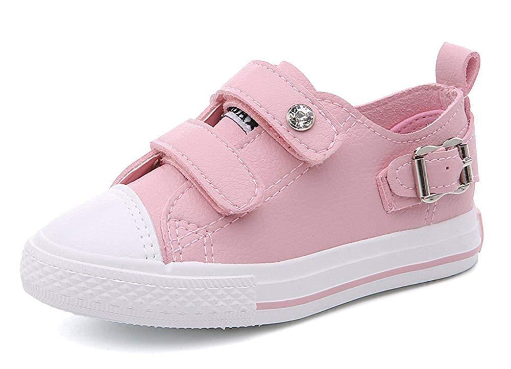 iDuoDuo Kids Casual Low Top Flat Loafers Fashion Buckle Rhinestone Leather Sneakers (Toddler/Little Kid/Big Kid)