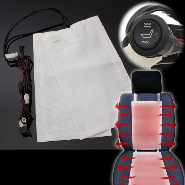 Carbon Fiber Universal Heated Seat Heater Kit Car Cushion: 2pcs 1 Seat 12V Carbon Fiber Universal Heated Seat Heater