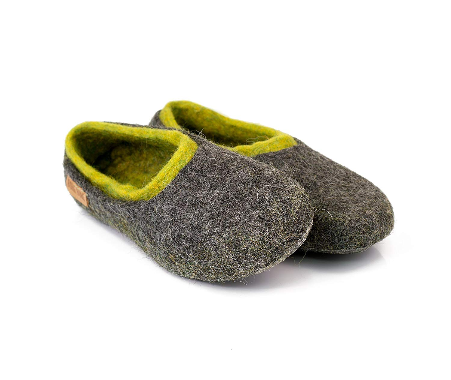 fb12d644504c Get Quotations · Gray felted wool slippers with neon green inner layer,  Handmade home shoes for men