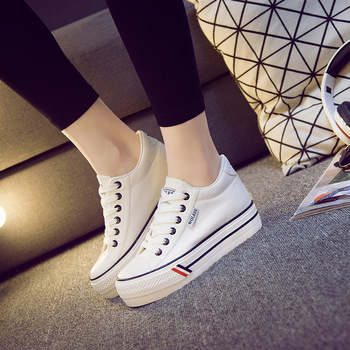 Wholesale Blank Thick Sole Casual Shoes Fashion Inner High Hidden Heel Women Sneakers