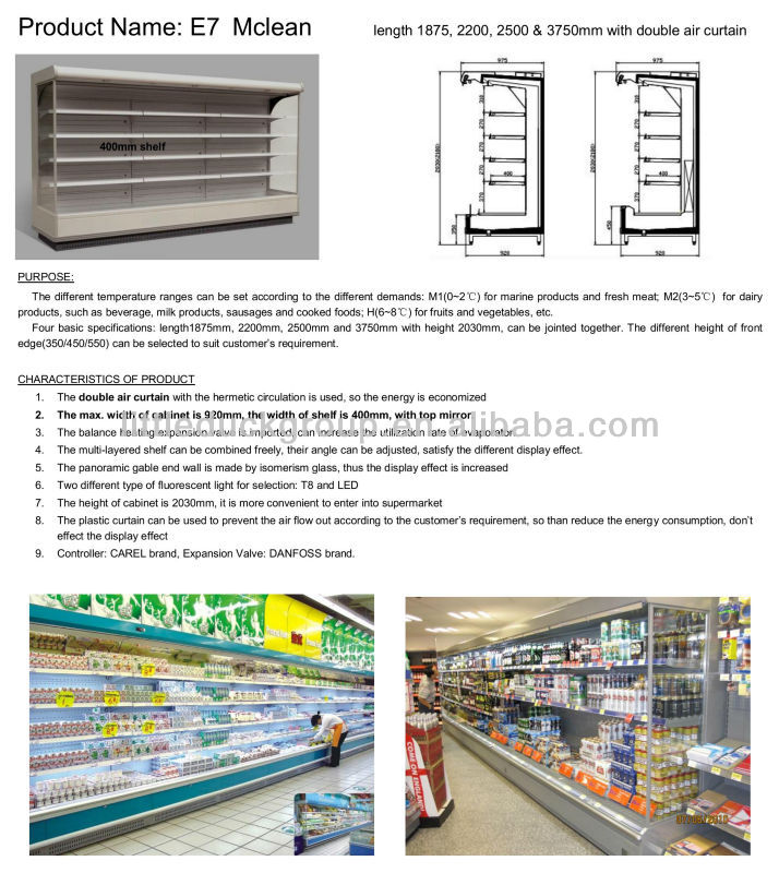 Double air curtain supermarket refrigerator showcase