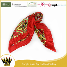 Professional wholesale red air hostess square scarf