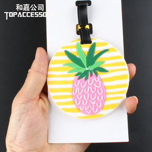 2 Colors New Novelty Toy Sublimation Round Pineapple Silicone Luggage Tags