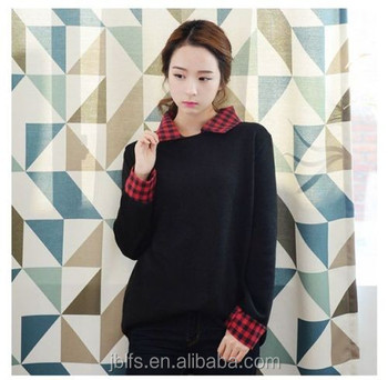 Korean Style Women Long Sleeve Checkered Collar Sweater Shirts Buy