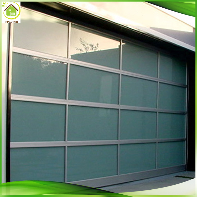 2017 high quality customized size durable aluminum fram clear tempered glass modern insulated overhead glass garage door