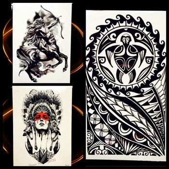 Black Indian God Turtle Totem Temporary Tattoo Stickers Men Body Art Arm Fake Flash Tattoo Legs Shoulder Women Waterproof Tatoos