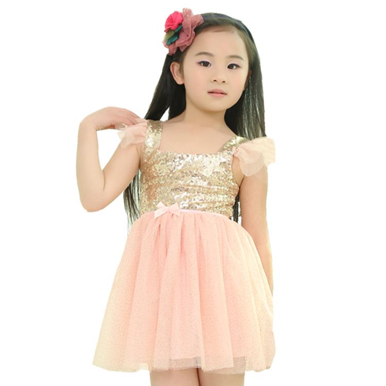 Buy 2015 NEW Summer Girls Dresses Baby Sleeveless Golden Sequined ...
