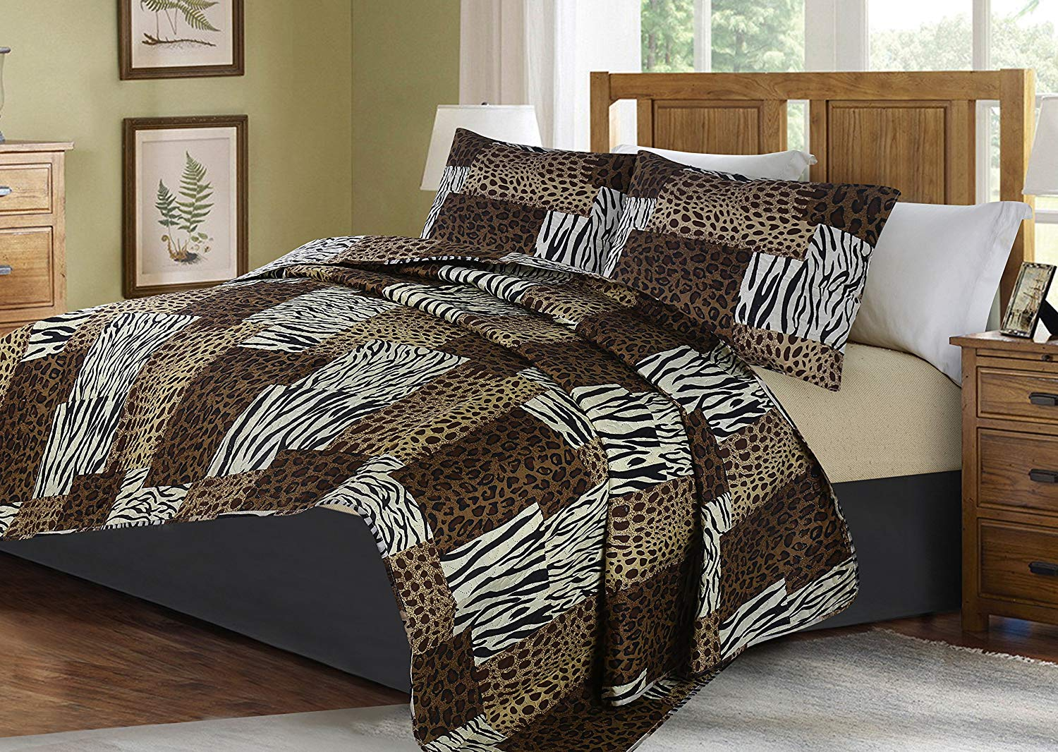 GorgeousHome 2/3PC ANIMAL Jungle Printed Quilt Bedspread Bed Dressing Bedding Cover Set with Pillow Shams in 3 Sizes AssortedStyles (#5 Leopard Tiger Zebra Mosaic, QUEEN)