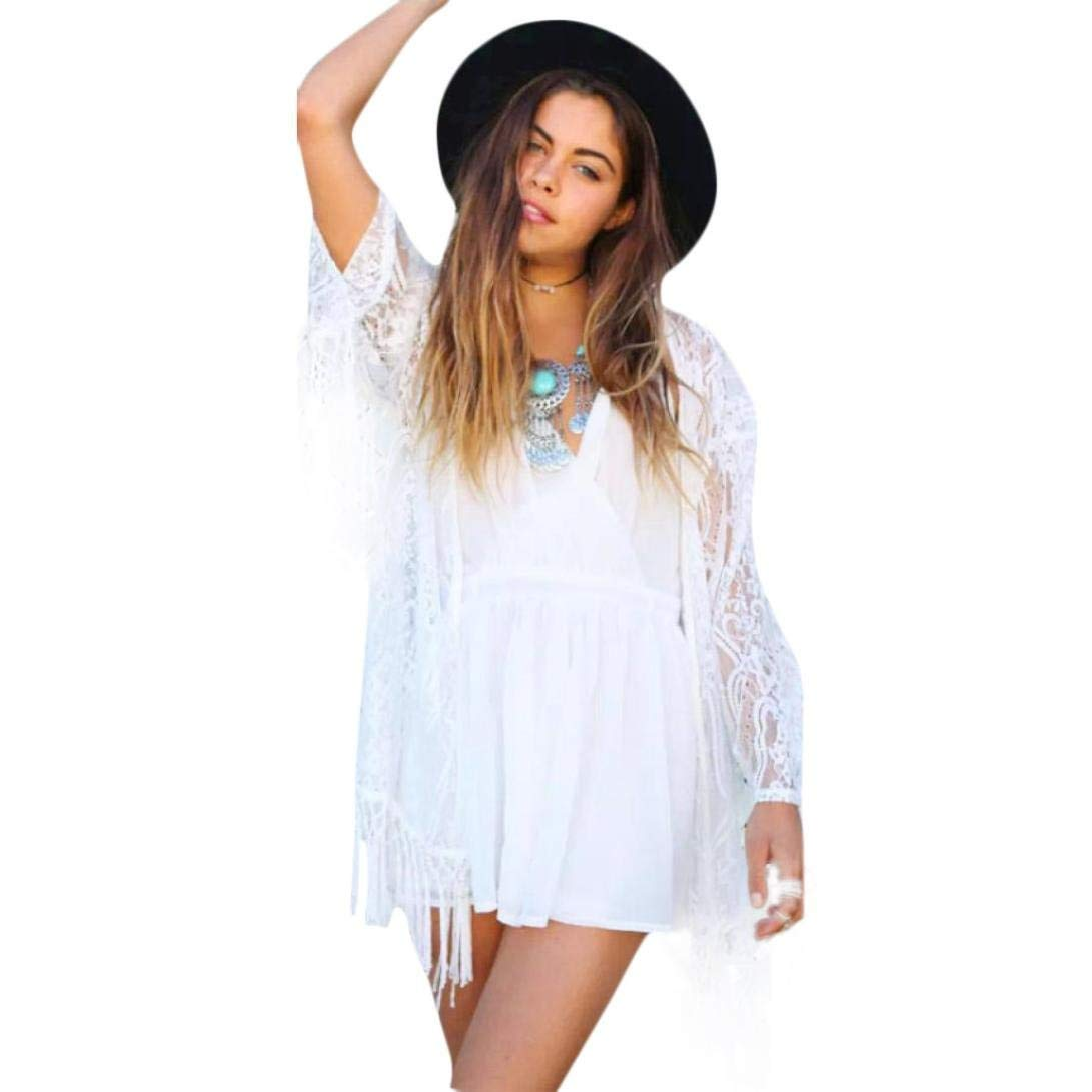 WYTong Clearance! Women Sexy Tassel Lace Kimono Cardigan See Through Open Front Shirt Top Blouse