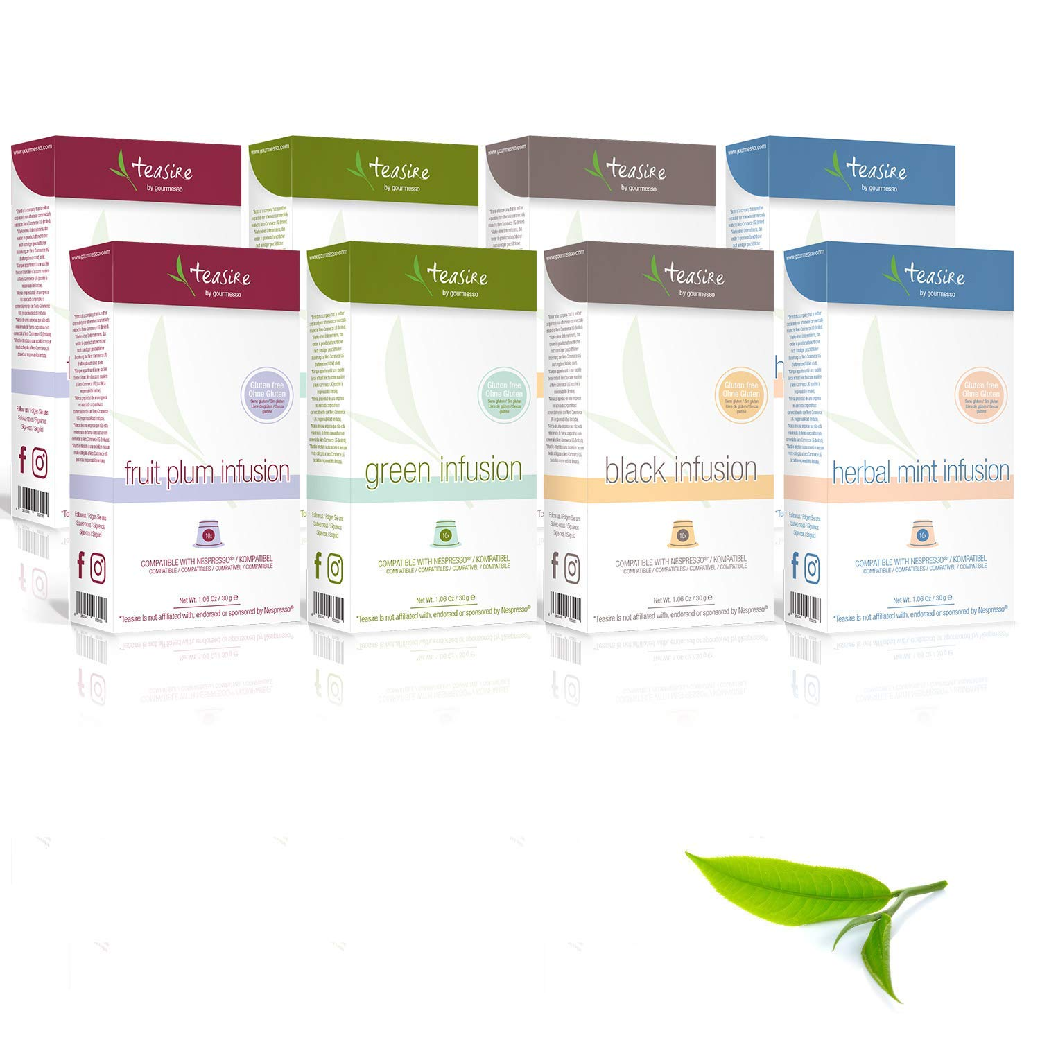 Gourmesso Infusion Bundle - 80 Nespresso Compatible Tea Capsules | Includes Green Tea, Black Tea, Mint Herbal Tea, and Plum Fruit Tea Pods