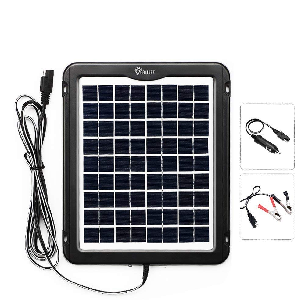 Solar Battery Charger Car, 5W 12V Solar Trickle Charger for Car Battery,Portable and Waterproof Solar Battery Maintainer, High Conversion Single Crystal Silicon Solar Panel Car Battery Charger for RV