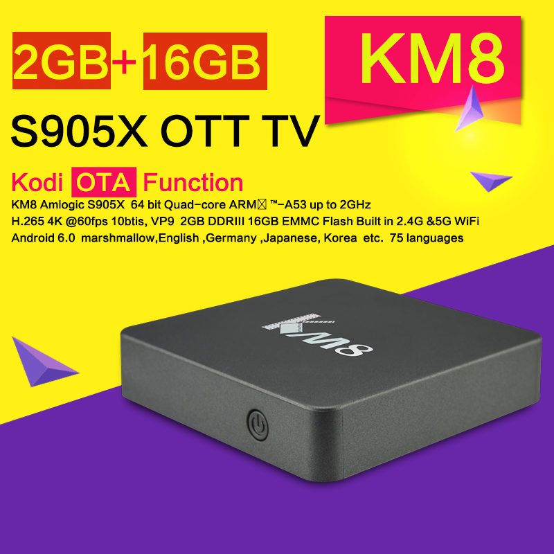 New arrival <strong>2G</strong> DDR 16G EMMC KM8 Quad Core S905X <strong>android</strong> 6.0 <strong>tv</strong> <strong>box</strong>
