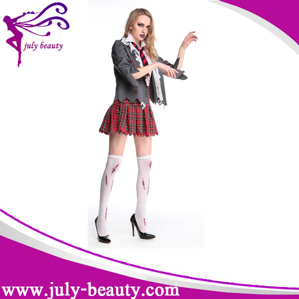Dames Halloween Sanglante Zombie School Girl Robe Costume M L XL