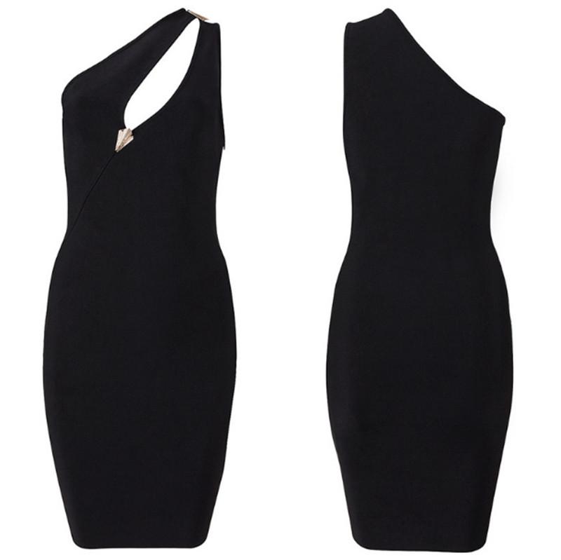 38098e497fa2 2015 New Sexy Black Slim Sequined One Shoulder HL Bodycon Bandage Dress  Celebrity Dresses Elegant Evening