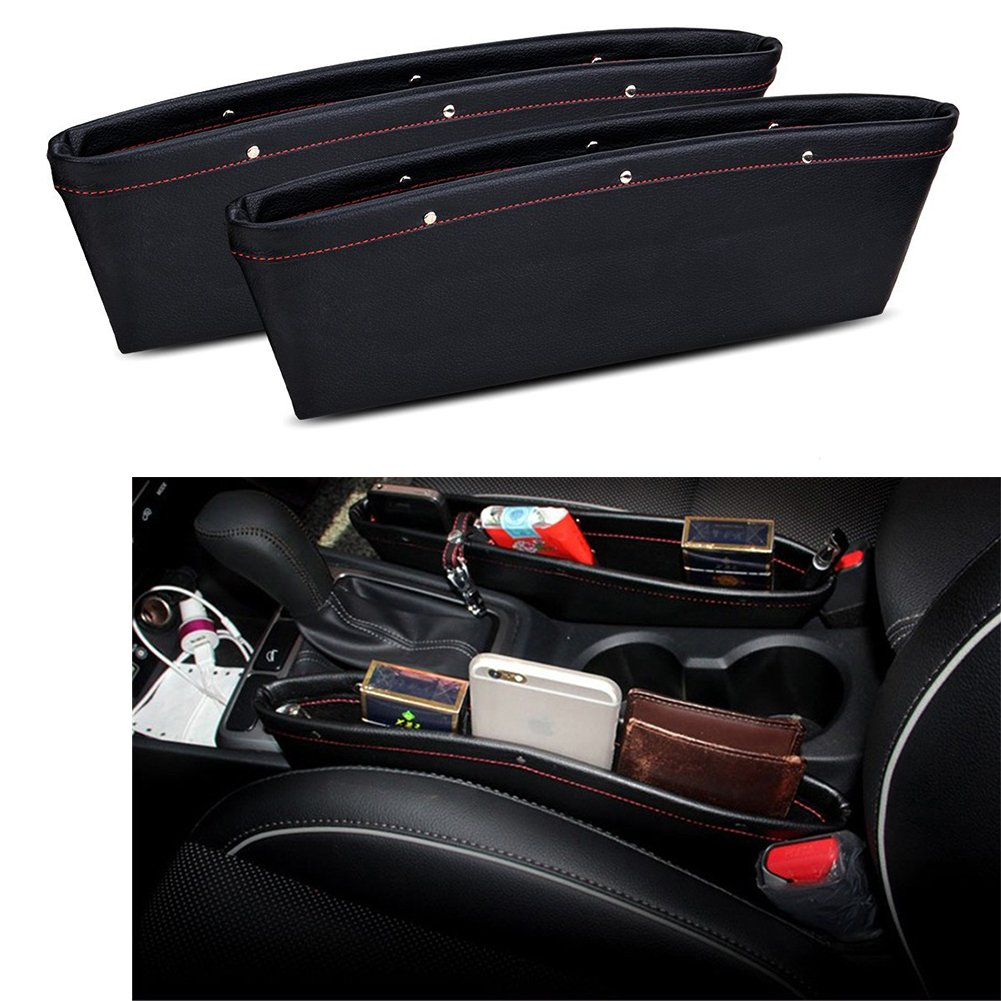 2 pack - Universal Car Slit Storage Organizer Console Seat Side Gap Filler Seat Pocket-Premium PU Leather Seat Catcher Caddy-Car Interior Accessories black OKZ Car Pocket Organizer