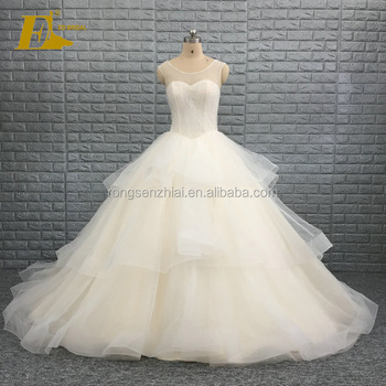 Ed Bridal China Factory Ball Gown Ruffles Champagne Crystal Beaded Wedding Dress