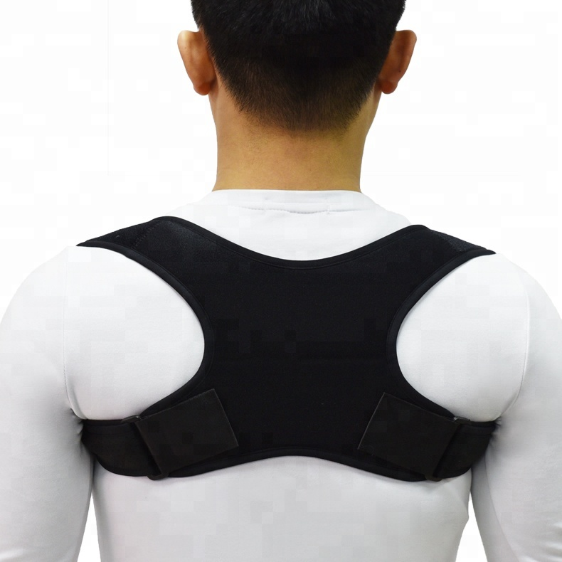 Adjustable Neoprene Back Posture Support Brace Upper Back Posture Corrector, Black gray or customized