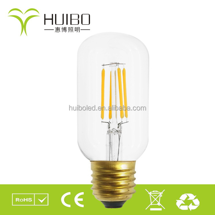 natural light led bulb led filament bulb tubular T45/T20/T22 2200k warm yellow CE ROHS ETL ERP